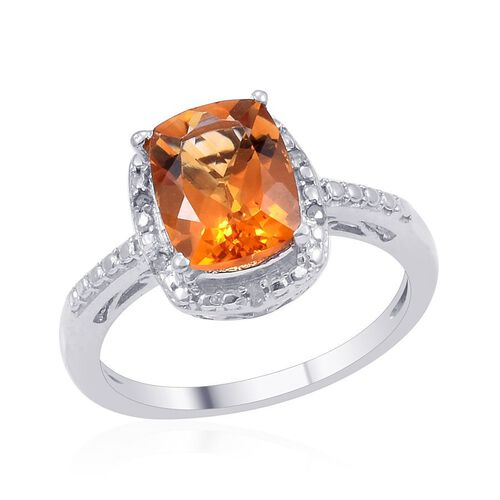 Madeira Citrine (Cush 1.75 Ct), Diamond Ring in Platinum Overlay Sterling Silver 1.800 Ct.
