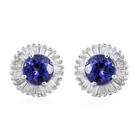 ILIANA 18K W Gold AAA Tanzanite (Rnd), Diamond (SI/G-H) Stud Earrings (with Screw Back) 1.300 Ct.