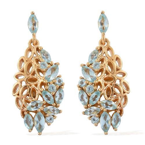 Paraiba Apatite (Mrq) Earrings (with Push Back) in 14K Gold Overlay Sterling Silver 2.250 Ct.
