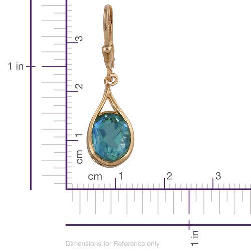 Peacock Quartz (Ovl) Lever Back Earrings in 14K Gold Overlay Sterling Silver 5.750 Ct.