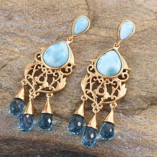 Royal Jaipur Larimar (Pear), Electric Swiss Blue Topaz and Burmese Ruby Chandelier Earrings (with Push Back) in 14K Gold Overlay Sterling Silver 30.000 Ct.