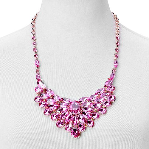 Simulated Pink Sapphire and Pink Austrian Crystal BIB Necklace (Size 22 with 4 inch Extender) and Earrings (with Push Back) in Rose Gold Tone