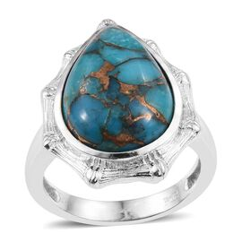 Mojave Blue Turquoise (Pear) Ring in ION Plated Platinum Bond 11.250 Ct.