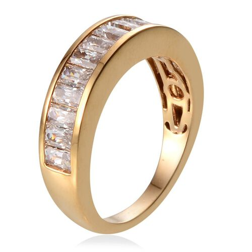 J Francis - 14K Gold Overlay Sterling Silver (Bgt) Half Eternity Band Ring Made With SWAROVSKI ZIRCONIA 1.540 Ct.