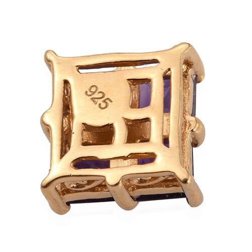 Lusaka Amethyst (Sqr), White Topaz Pendant in 14K Gold Overlay Sterling Silver 1.260 Ct.