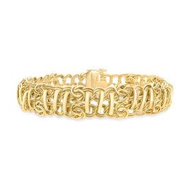 Vicenza Collection 9K Y Gold Double Bar Bracelet (Size 8), Gold wt 16.20 Gms.
