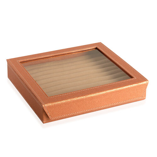 Hand Crafted - Eco Leatherette Copper Colour 100 Slot Ring Box with Magnetic Closure (Size 24x22x4 Cm)
