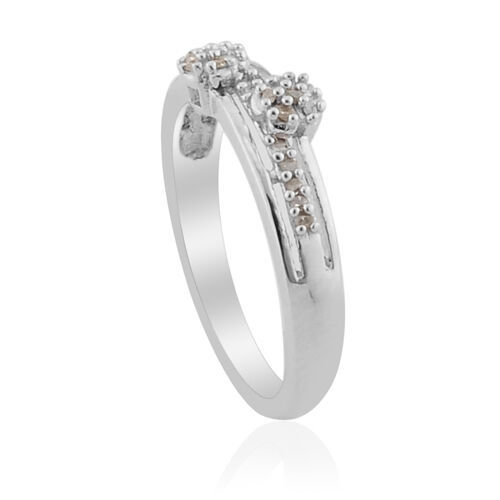 Diamond Platinum Overlay Sterling Silver Ring  0.090 Ct.