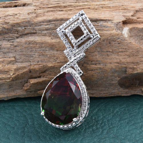 Bi-Color Tourmaline Quartz (Pear), Diamond Pendant in Platinum Overlay Sterling Silver 9.510 Ct.