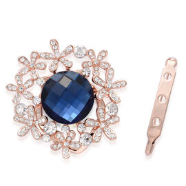 Simulated Blue Sapphire and White Austrian Crystal Brooch or Scarf Clip in Rose Gold Tone