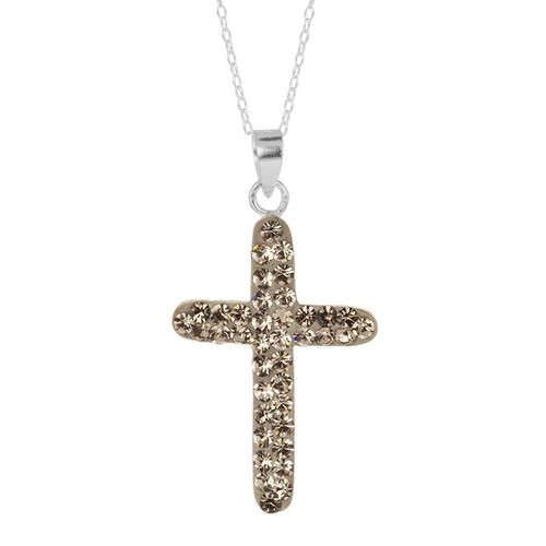 Grey Austrian Crystal (Rnd) Cross Pendant With Chain in Sterling Silver