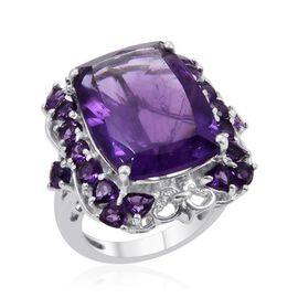 Zambian Amethyst (Cush 10.50 Ct) Ring in Platinum Overlay Sterling Silver 12.000 Ct.