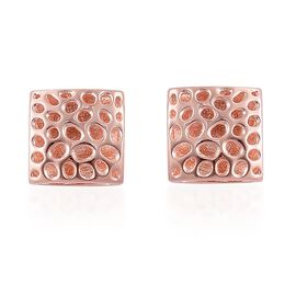RACHEL GALLEY Rose Gold Overlay Sterling Silver Memento Diamond Cufflinks, Silver wt 7.56 Gms.