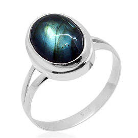 Royal Bali Collection Labradorite (Ovl) Solitaire Ring in Sterling Silver 7.030 Ct.