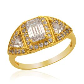 J Francis - 14K Gold Overlay Sterling Silver (Oct) Ring Made with SWAROVSKI ZIRCONIA 2.428 Ct.