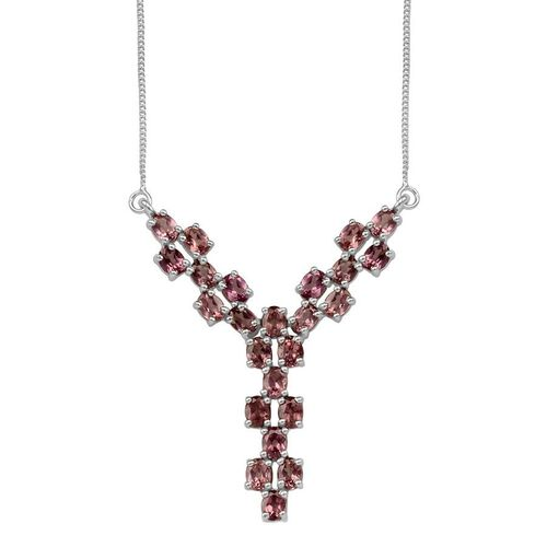 Malaya Garnet (Ovl) Necklace (Size 18) in Platinum Overlay Sterling Silver 4.750 Ct.