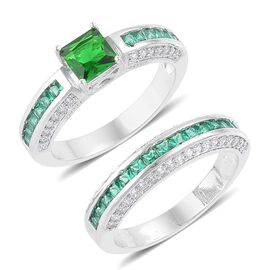 Set of 2 - AAA Simulated Emerald and Simulated White Diamond Ring in Silver Tone