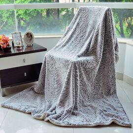 Superfine Microfibre White and Chocolate Colour Faux Fur Blanket with Sherpa Reverse (Size 200x150 Cm)
