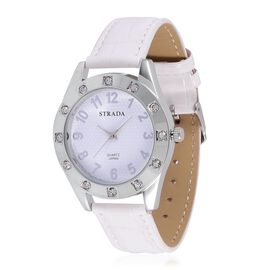 STRADA Japanese Movement White Dail White Austrian Crystal Water Resistant Watch in Silver Tone with Stainless Steel Back and White Strap