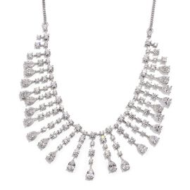 J Francis - Platinum Overlay Sterling Silver (Pear) Necklace (Size 18) Made with SWAROVSKI ZIRCONIA 28.540 Ct.
