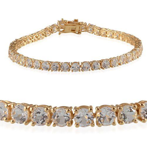 Golconda Diamond Topaz (Rnd) Bracelet in 14K Gold Overlay Sterling Silver (Size 7.5) 12.500 Ct.