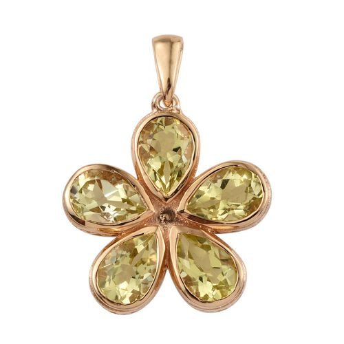 Natural Ouro Verde Quartz (Pear) 5 Stone Floral Pendant in 14K Gold Overlay Sterling Silver 6.500 Ct.