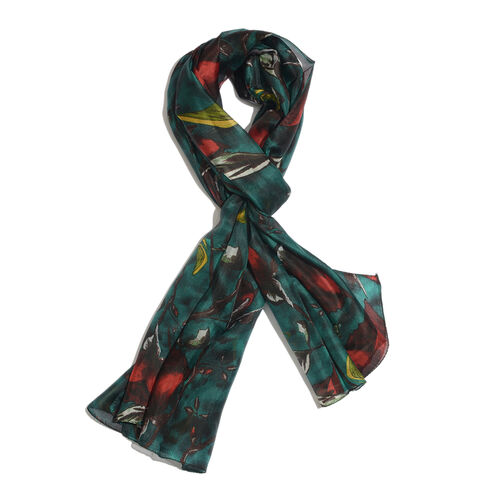 100% Mulberry Silk Dark Green and Multi Colour Abstract Pattern Printed Pareo (Size 180x100 Cm)