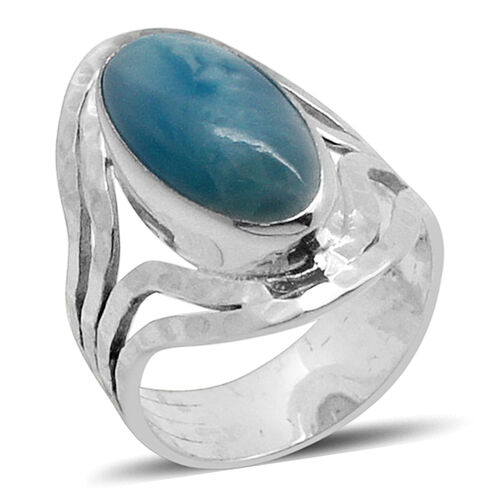 Royal Bali Collection Larimar (Ovl) Solitaire Ring in Sterling Silver 9.500 Ct.