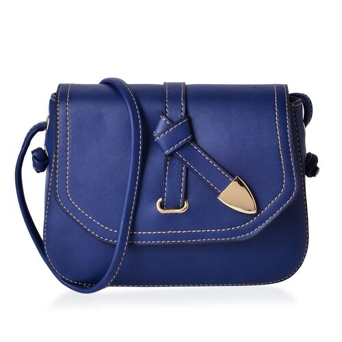 Navy Colour Crossbody Bag with Shoulder Strap (Size 21.5x17x6.5 Cm)