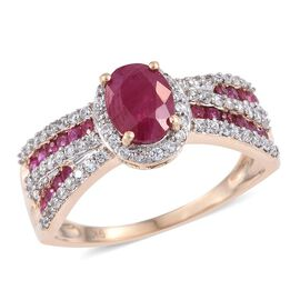 9K Y Gold AAA Burmese Ruby (Ovl 1.50 Ct), Natural Cambodian Zircon Ring 2.750 Ct. Gold Wt 3.5 Gms.