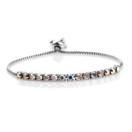 J Francis Crystal from Swarovski - AB Crystal (Rnd) Adjustable Bracelet (Size 7.5) in ION Plated Platinum Bond
