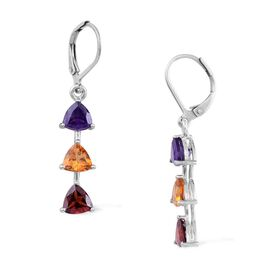 Amethyst (Trl), Mozambique Garnet and Citrine Lever Back Earrings in Platinum Bond 3.750 Ct.