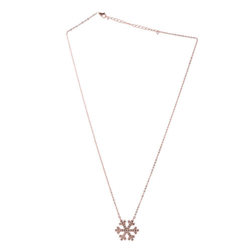 Close Out Deal Simulated Diamond (Rnd) Snowflake Pendant With Chain in Rose Gold Overlay Sterling Silver