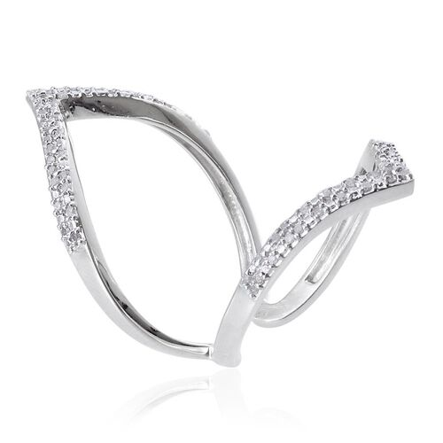 Diamond (Rnd) Chevron Ring in Platinum Overlay Sterling Silver 0.330 Ct.