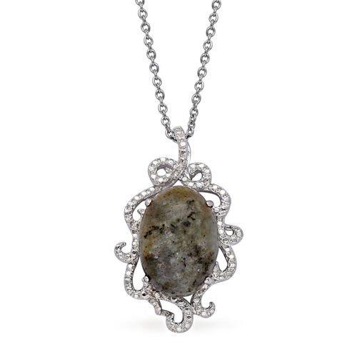 Labradorite (Ovl) Solitaire Pendant in ION Plated Silver Bond with Stainless Steel Chain 8.500 Ct.