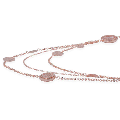 White Austrian Crystal Multi Strand Necklace (Size 30) in Rose Gold Tone