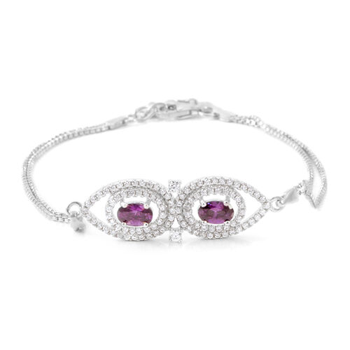 ELANZA AAA Simulated Amethyst (Pear), Simulated Diamond Bracelet (Size 7.25 with Extender) in Rhodium Plated Sterling Silver