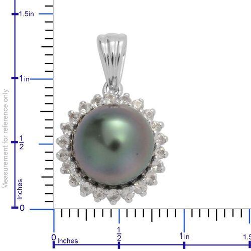 ILIANA 18K White Gold Tahitian Pearl (Rnd 6.25 Ct), Diamond SI G-H Pendant 6.512 Ct.