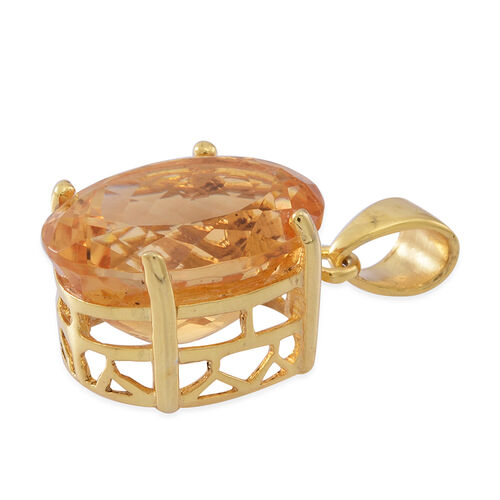 AAA Rare Size Uruguay Citrine (Ovl) Pendant in 14K Yellow Gold Overlay Sterling Silver 11.000 Ct.