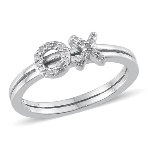 Diamond (Rnd) XO Ring in Platinum Overlay Sterling Silver 0.100 Ct.