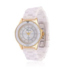 GENOA White Ceramic Gold Tone Japanese Movement, Water Resistant Watch Studded with Austrian Crystals.