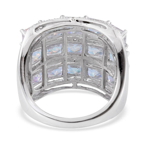 Mercury Mystic Topaz (Sqr), Diamond Ring in Platinum Overlay Sterling Silver 11.790 Ct.