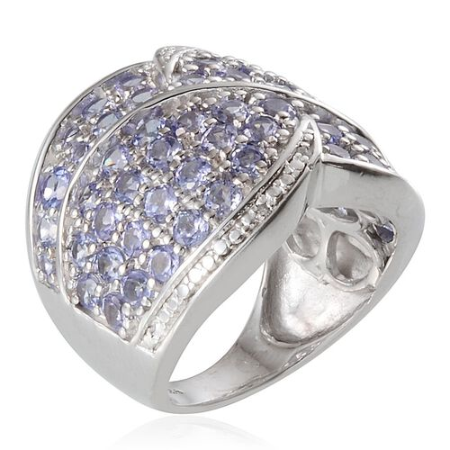 Tanzanite (Rnd), Diamond Ring in Platinum Overlay Sterling Silver 3.530 Ct.
