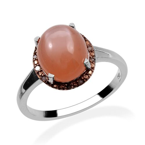 Mitiyagoda Peach Moonstone (Ovl 4.00 Ct), Brown Diamond Ring in Platinum Overlay Sterling Silver 4.050 Ct.