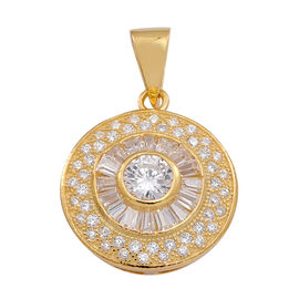 ELANZA AAA Simulated Diamond (Rnd) Pendant in 14K Gold Overlay Sterling Silver