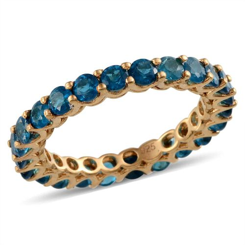 Yellow Gold Plated Silver 2.25 Carat Neon Apatite Full Eternity Ring