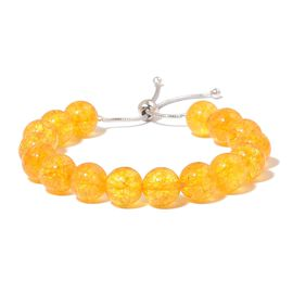 Citrine Adjustable Ball Beads Bracelet (Size 6.5 to 8) in Rhodium Plated Sterling Silver 110.000 Ct.