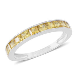 9K W Gold AA Yellow Sapphire (Sqr) Half Eternity Band Ring 1.850 Ct.