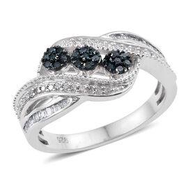 Blue Diamond, White Diamond Ring in Platinum Overlay Sterling Silver 0.430 Ct.