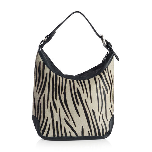 Genuine Leather Zebra Pattern Black and White Colour Handbag with External Zipper Pocket and Adjustable Shoulder Strap (Size 33x23x11 Cm)